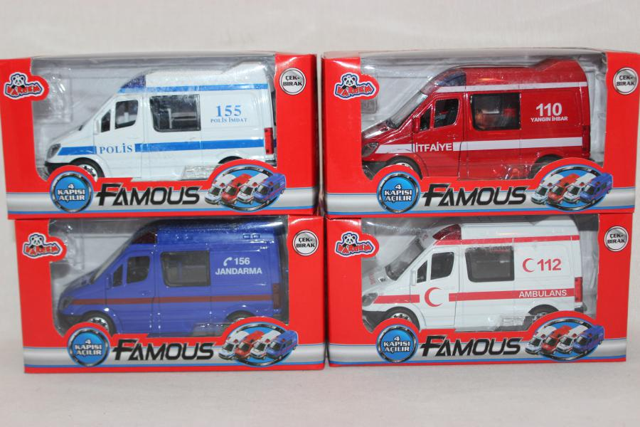 03254 Araba Metal Ambulans Polis Jandarma 48 Pcs